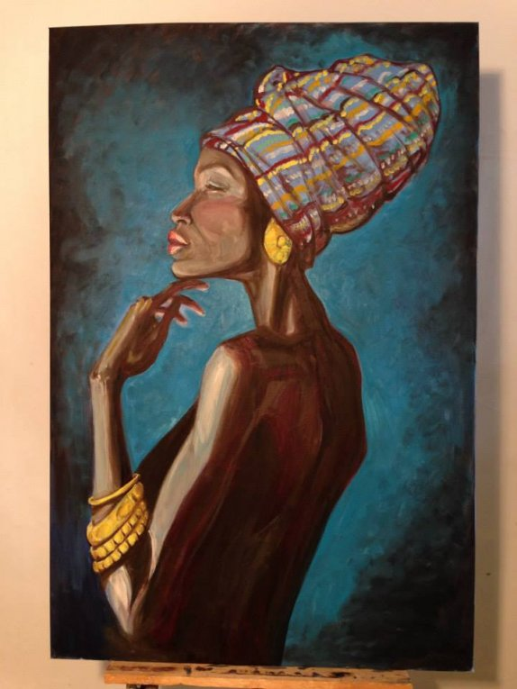 120X80 oil on canvas - chen bachar- african woman