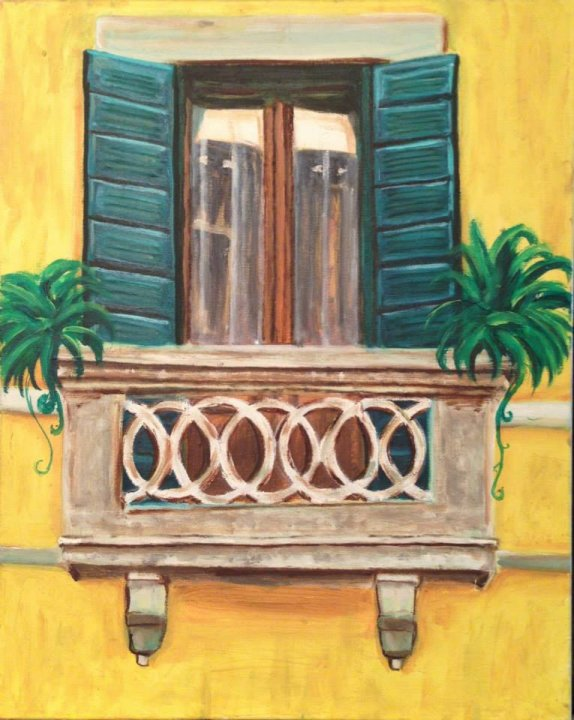 45X35 oil on canvas - chen bachar-venice window