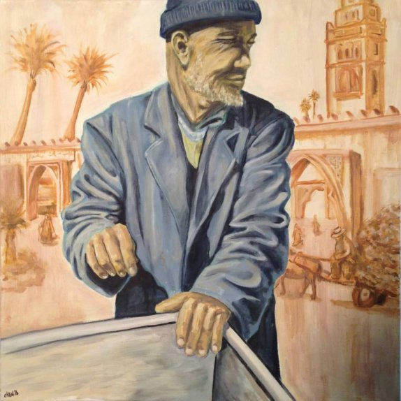60X60 oil on canvas - chen bachar- the fisher man
